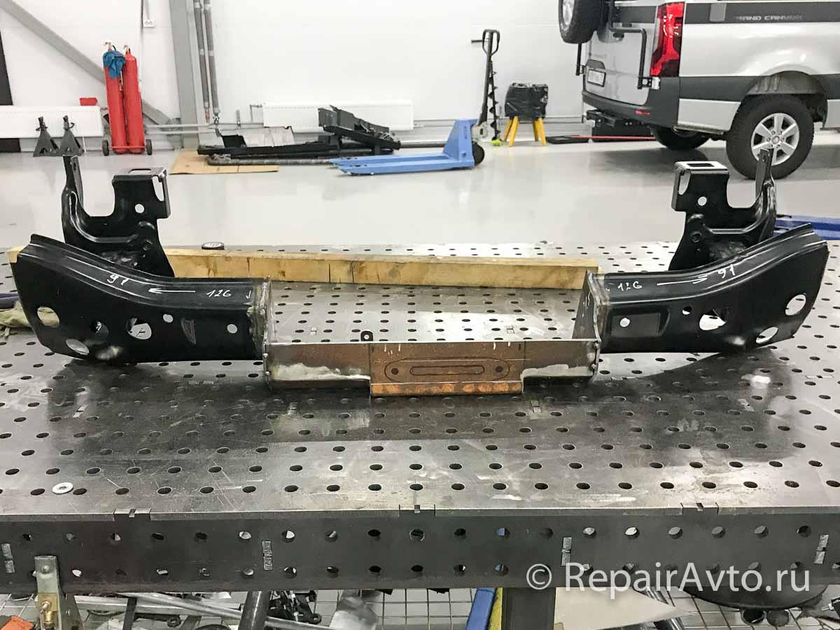 Монтаж площадки для установки лебедки в штатный бампер Volkswagen Caravelle