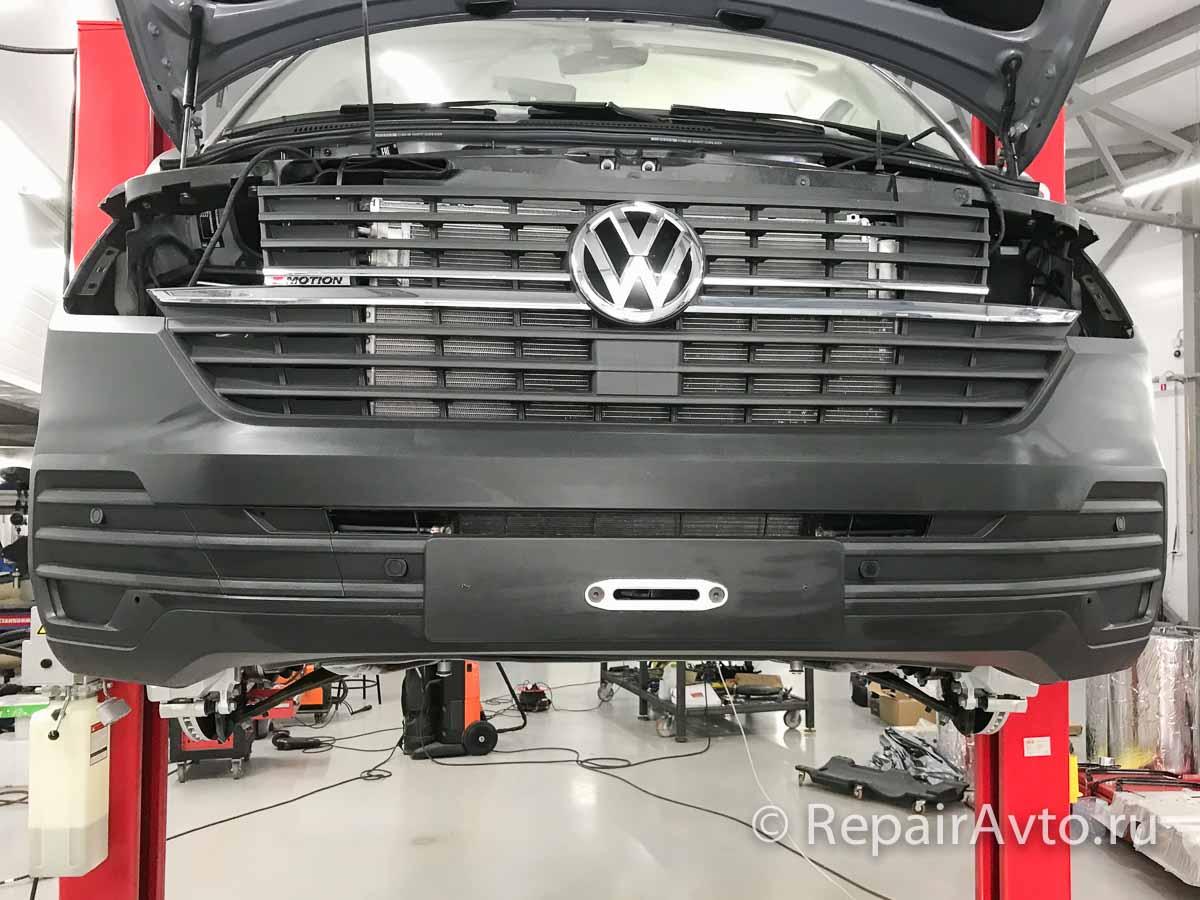 Установка лебедки TMAX-6500 в штатный бампер Volkswagen Caravelle